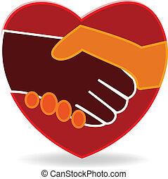 coração, aperto mão, logotipo