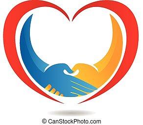 coração, aperto mão, negócio, logotipo