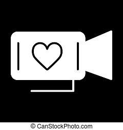 coração, aproximadamente, filme, concept., love., símbolo., valentine, câmera, dia, película