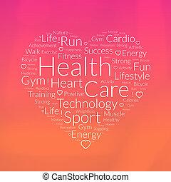 coração, aproximadamente, palavra, forma, saúde, nuvem, cuidado