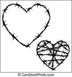 coração, arame farpado