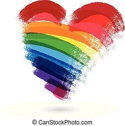 coração, arco íris