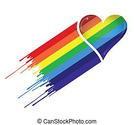 coração, arco íris, tinta