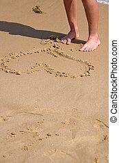 coração, areia