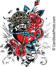 coração, asa, tatuagem