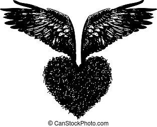 coração, asas, anjo