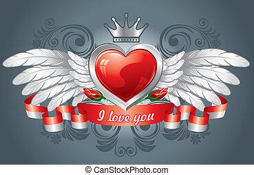 coração, asas