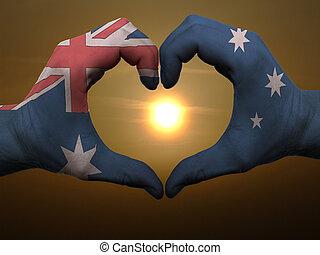 coração, austrália, amor, colorido, símbolo, bandeira, feito, gesto, mãos, durante, mostrando, amanhecer