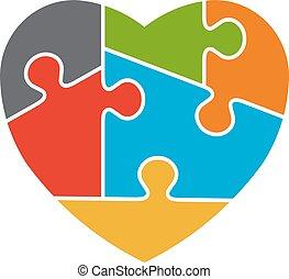 coração, autism, consciência, logotipo, desenho