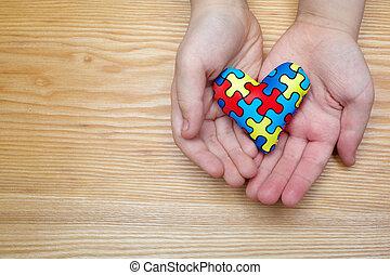coração, autistic, criança, padrão, quebra-cabeça, jigsaw, autism, dia, mãos, mundo, ou, consciência
