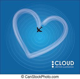 coração, avião, nuvem, dado forma