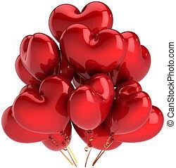 coração, balões, amor, vermelho, dado forma