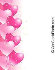 coração, balões, borda, fundo, com, estrelas