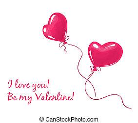 coração, balões, dois, vermelho, dado forma