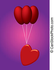 coração, balões