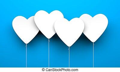 coração, balões, ligado, azul, experiência., dia dos namorados, metáfora