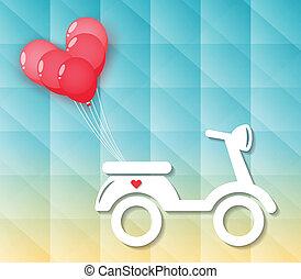coração, balões, motocicleta, vermelho