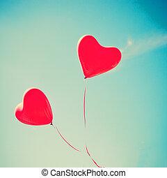 coração, balões, vermelho, dado forma