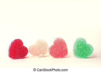 coração, bala doce, revestido, com, açúcar, (retro, color)