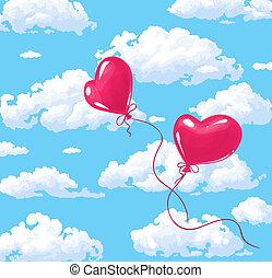 coração, ballons, dois, vermelho, dado forma