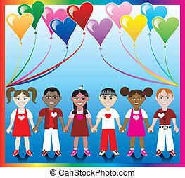 coração, balloon, crianças, 1