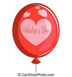coração, balloon, forma., valentine, ar, dia