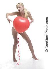 coração, balloon, vermelho