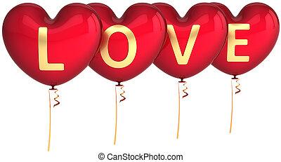 coração, balloons., amor, dado forma, partido