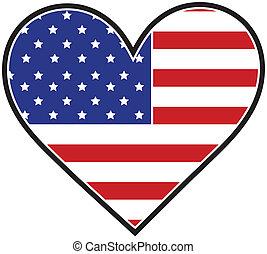 coração, bandeira, américa