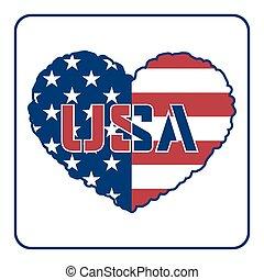 coração, bandeira americana