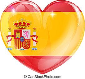 coração, bandeira, amor, espanha