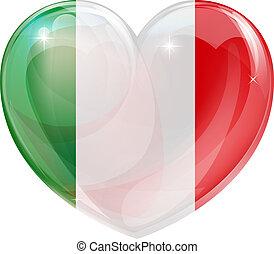 coração, bandeira, amor, italiano