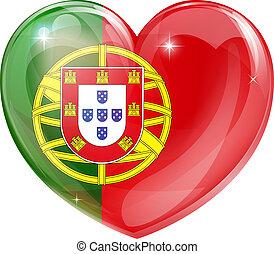coração, bandeira, amor, portugal