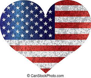 coração, bandeira eua, 4th, textured, julho