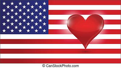 coração, bandeira, heart., eua, us.