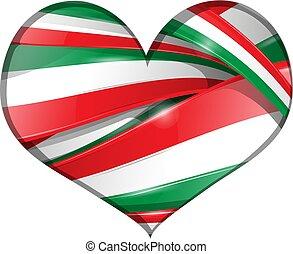 coração, bandeira, mexicano, fundo, italiano