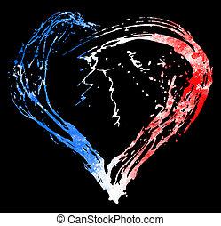 coração, bandeira, simbólico, cores, francês