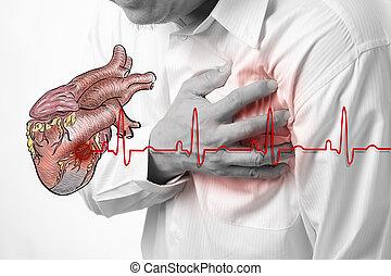 coração, batidas, ataque, fundo, cardiograma