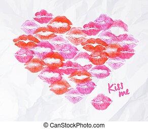 coração, beijo batom