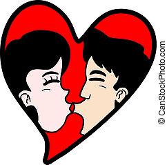 coração, beijo