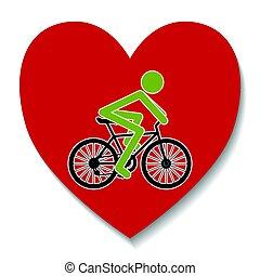 coração, bicicleta