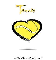 coração, bola, tênis, dado forma