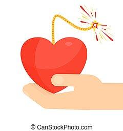 coração, bomba, semelhante, segurando mão