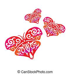 coração, borboletas, forma