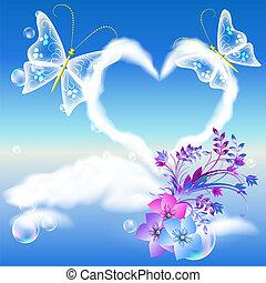 coração, borboletas, nuvens, dois