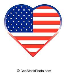 coração, botão, americano, forma