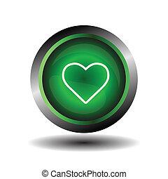 coração, botão, verde