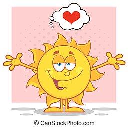 coração, braços abertos, sol