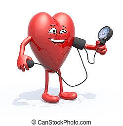 coração, braços, pressão, sangue, medida, pernas
