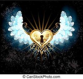 coração, branca, asas, mecânico
